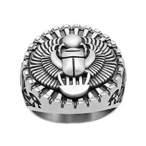New Mens Egyptian Ankh Scarab Sterling Silver Ring
